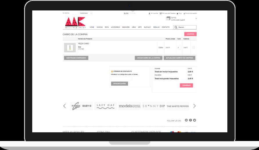 Diseño e-commerce para Miss Kleckley