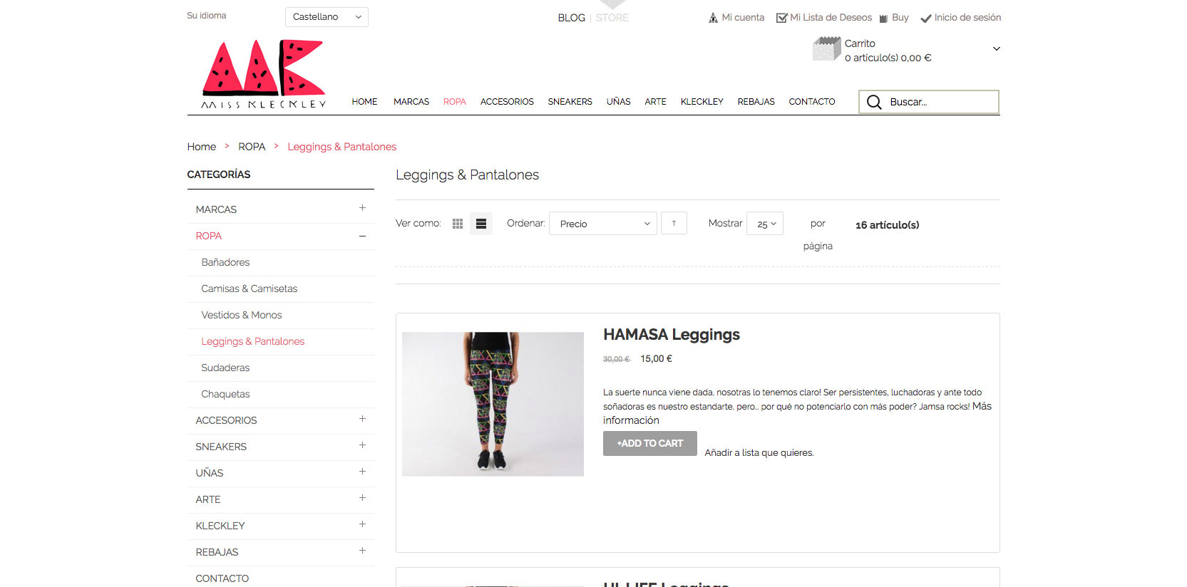 Diseño e-commerce para Miss Kleckley
