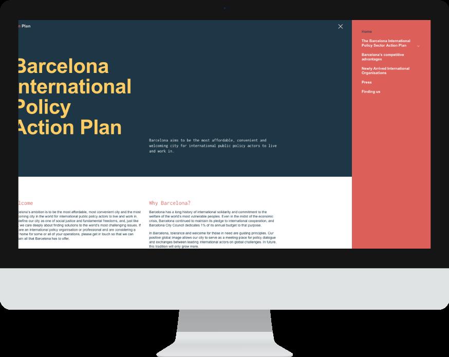 Menú - Diseño web WordPress para Barcelona Action Plan