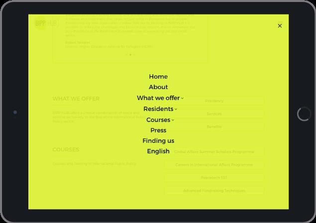 Menú - Diseño web WordPress para Bipp-Hub